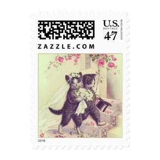 Wedding Cats Bride and Groom Mint Green Postage