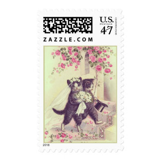Wedding Cats Bride and Groom Mint Green Postage Stamp