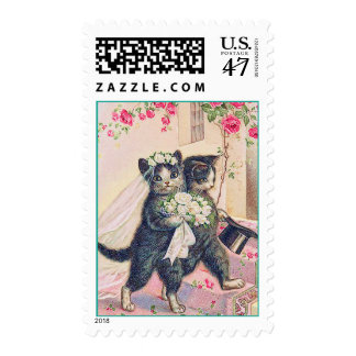 Wedding Cats Bride and Groom Stamp