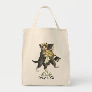 Wedding Cats Grocery Tote Bag