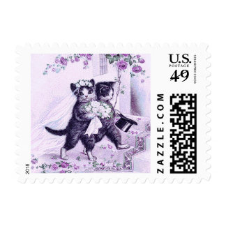 Wedding Cats Purple Special Occasion Postage