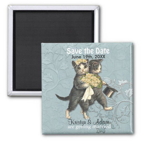 Wedding Cats Save the Date Magnets - Aqua
