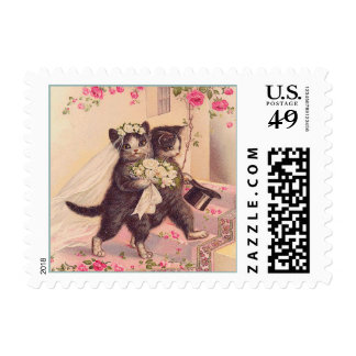 Wedding Cats Vintage Bride and Groom Postage