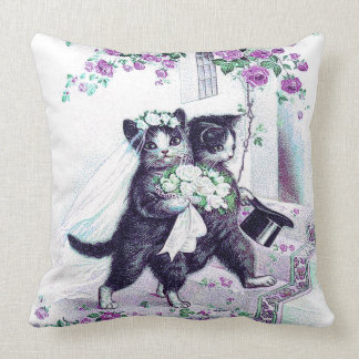 Wedding Cats Vintage Bride and Groom Throw Pillow