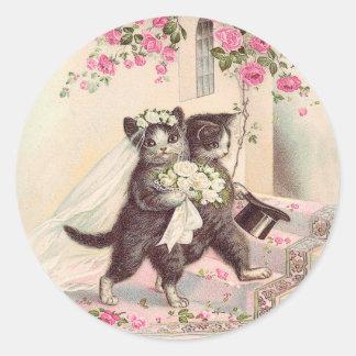 Wedding Cats Vintage Classic Round Sticker
