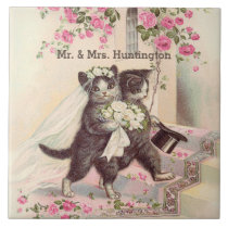 Wedding Cats with Customizable Name Tile
