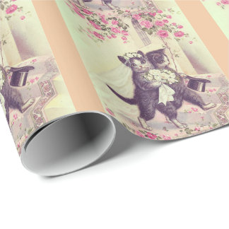 Wedding Cats with Peach Stripes Wrapping Paper