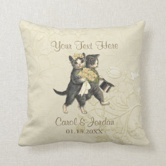 Wedding Cats Your Custom Text Throw Pillow