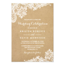 Wedding Celebration Classy Floral Lace Kraft Invitation