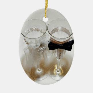 Wedding Celebration Glasses Ceramic Ornament