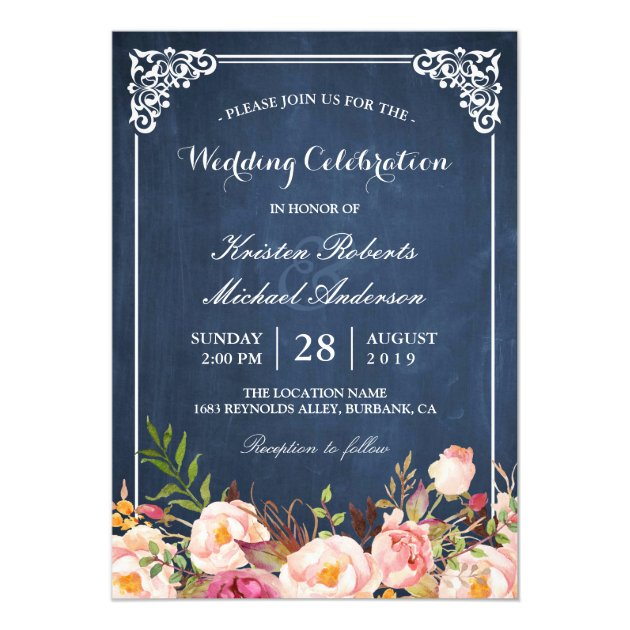 Wedding Celebration Pink Floral Blue Chalkboard Card