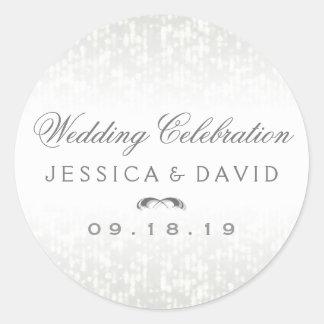Wedding Celebration Round Names & Date Sticker