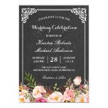 Wedding Celebration Vintage Pink Floral Chalkboard Card