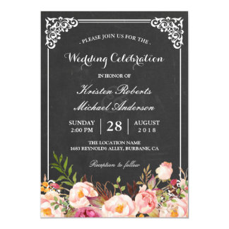 Wedding Celebration Vintage Pink Floral Chalkboard Card