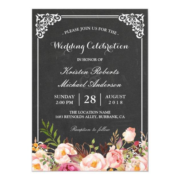 Wedding Celebration Vintage Pink Floral Chalkboard Card (front side)