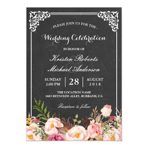 Wedding Celebration Vintage Pink Floral Chalkboard Invitation