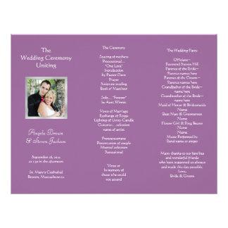 Wedding Ceremony Folded Program With Photo Letterhead