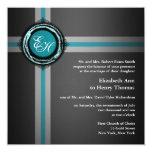 Wedding Ceremony Invitation Grey Turquois Embossed