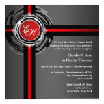Wedding Ceremony Invitation Red Silver Embossed