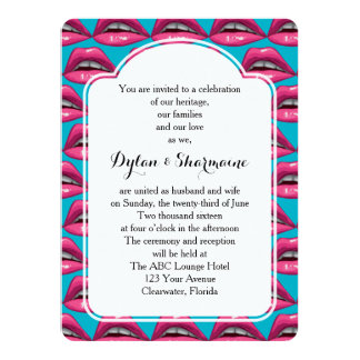 "Wedding Ceremony Pop Art Pink Lips Makeup 5.5"" X 7.5"" Invitation Card"