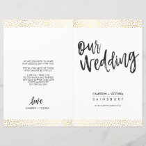 WEDDING CEREMONY PROGRAM brush type gold confetti