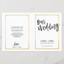 WEDDING CEREMONY PROGRAM brushed type gold frame