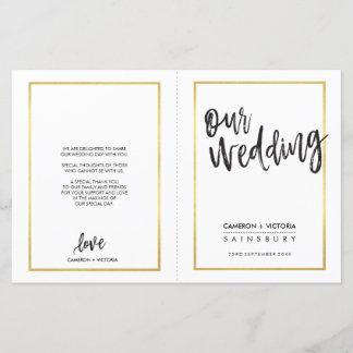 WEDDING CEREMONY PROGRAM brushed type gold frame