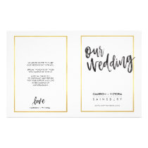 WEDDING CEREMONY PROGRAM brushed type gold frame Flyer