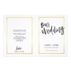 Wedding Ceremony Program Brushed Type Gold Frame Flyer at Zazzle