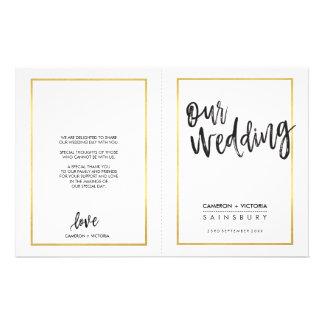 WEDDING CEREMONY PROGRAM brushed type gold frame Flyer