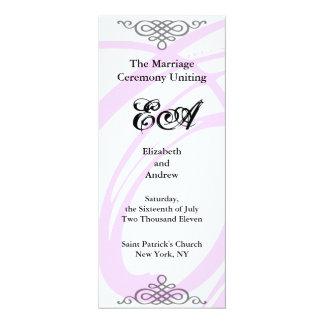 Wedding Ceremony Program Classic Pastel Pink Twirl