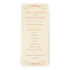 Wedding Ceremony Program | Country Florals Pink Custom Announcements