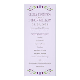 Wedding Ceremony Program | Country Florals Purple Card