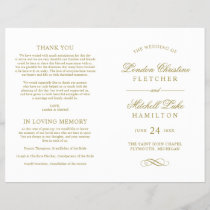 Wedding Ceremony Program | Gold Classic Elegance