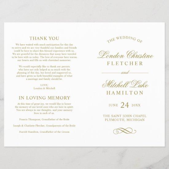 Wedding Ceremony Program   Gold Classic Elegance