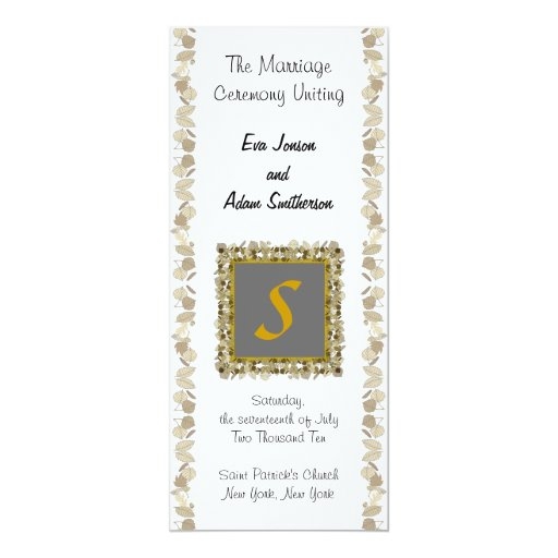 "Wedding Ceremony Program Gold Leaf 4"" X 9.25"" Invitation Card"