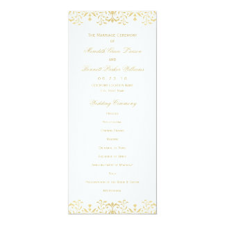 Wedding Ceremony Program | Gold Vintage Glamour Card