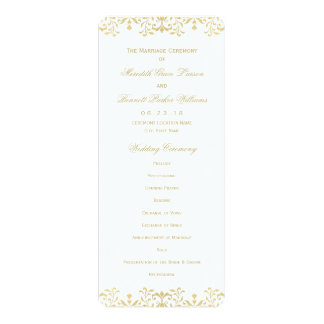 "Wedding Ceremony Program | Gold Vintage Glamour 4"" X 9.25"" Invitation Card"