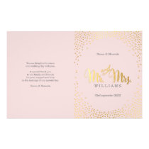 WEDDING CEREMONY PROGRAM mini gold confetti blush Flyer