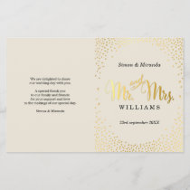 WEDDING CEREMONY PROGRAM mini gold confetti ivory