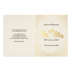 Wedding Ceremony Program Mini Gold Confetti Ivory Flyer at Zazzle