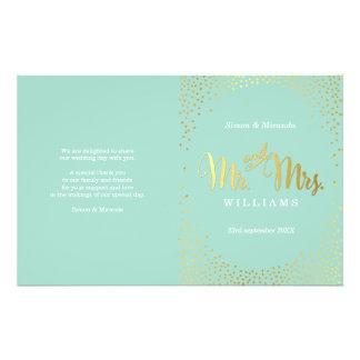 WEDDING CEREMONY PROGRAM mini gold confetti mint Flyer