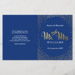 """WEDDING CEREMONY PROGRAM mini gold confetti navy<br><div class=""""desc"""">NOTE - the gold foil effect is a printed picture A super stylish program for your WEDDING CEREMONY. Wow your friends and family with this little number ;DSetup as a template it is simple for you to add your own details, or hit the customize button and you can add or...</div>"""