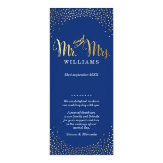 WEDDING CEREMONY PROGRAM mini gold confetti navy