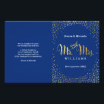 """WEDDING CEREMONY PROGRAM mini gold confetti navy Flyer<br><div class=""""desc"""">NOTE - the gold foil effect is a printed picture A super stylish program for your WEDDING CEREMONY. Wow your friends and family with this little number ;DSetup as a template it is simple for you to add your own details, or hit the customize button and you can add or...</div>"""