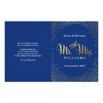 WEDDING CEREMONY PROGRAM mini gold confetti navy Flyer