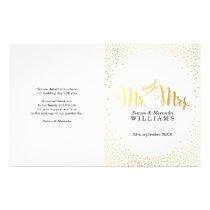 WEDDING CEREMONY PROGRAM mini gold confetti simple Flyer