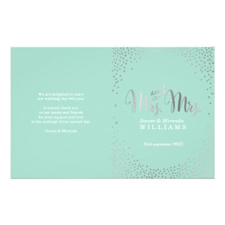 WEDDING CEREMONY PROGRAM mini silver confetti mint Flyer
