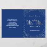 """WEDDING CEREMONY PROGRAM mini silver confetti navy<br><div class=""""desc"""">NOTE - the silver foil effect is a printed picture A super stylish program for your WEDDING CEREMONY. Wow your friends and family with this little number ;DSetup as a template it is simple for you to add your own details, or hit the customize button and you can add or...</div>"""