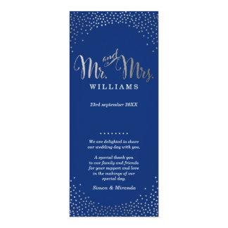 WEDDING CEREMONY PROGRAM mini silver confetti navy